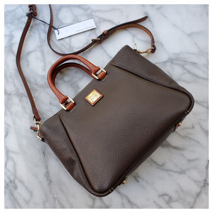 Dooney & Bourke Small Top Zip Satchel in Chocolate